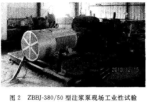 图2 ZBBJ-380-50型注浆泵现场工业性试验